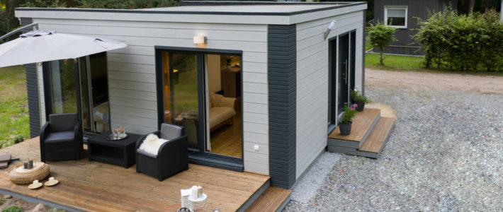 Liederflex Systemhaus Duett (Tiny-Haus) - Gesamtansicht von leicht erhöhter Position